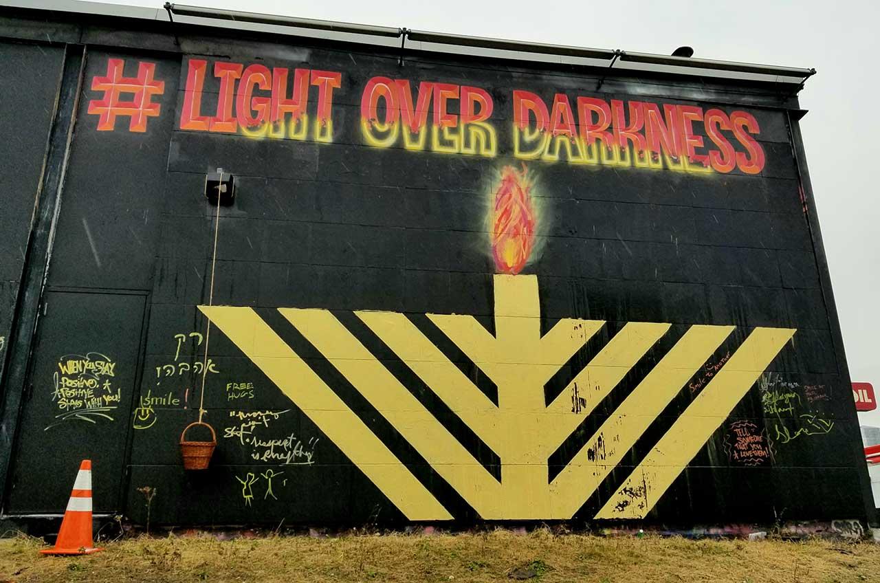 Menorah Lighting This Sunday, #LightOverDarkness Mural Honors Jersey City Shooting Victims